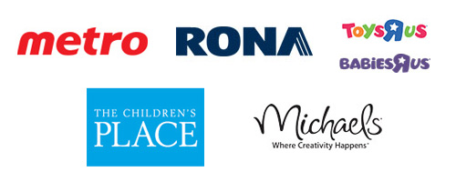 Metro, RONA, Toys 'R' Us, Babies 'R' Us, The Children's Place, and Michaels