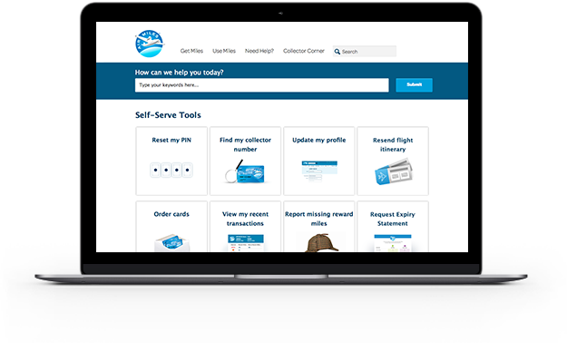 screenshot image of self serve tools page